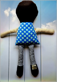 Brown Haired Doll Back, Sewn in Vermont©