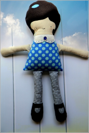 Brown Haired Doll Front, Sewn in Vermont