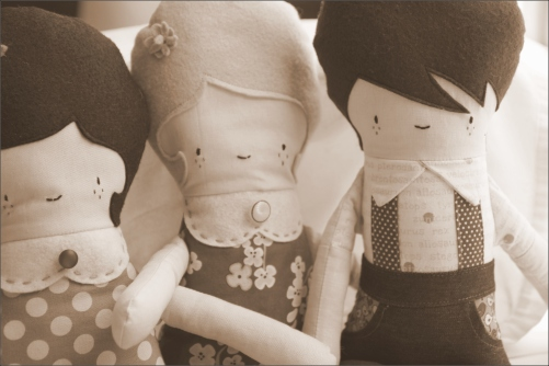 Three Dolls in Sepia, Sewn in Vermont©